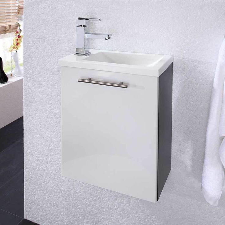 Waschtischunterschrank In Weiß Hochglanz Anthrazit 40 Cm Breit Jetzt  Bestellen Unter: Https://