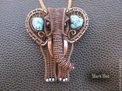 """Кулоны, подвески ручной работы. Ярмарка Мастеров - ручная работа. Купить Кулон из меди и бирюзы """"Слон"""". Handmade. Синий"""