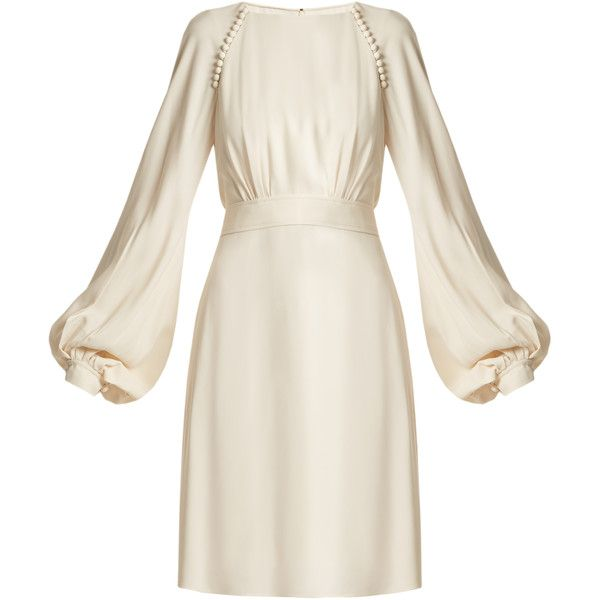 Chloé Waist-tie blouson-sleeve cady dress (83,555 PHP) ❤ liked on Polyvore featuring dresses, cream, white sleeve dress, white dresses, cream dress, sleeved dresses and white blouson dress