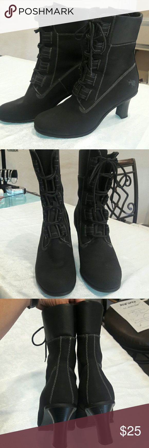 US Polo Association black boots size 8.5 These boots were worn maybe 3 times. Black suede type material. Front lace up. Size 8.5 Please see pictures for measurements and condition US Polo Association Shoes Lace Up Boots