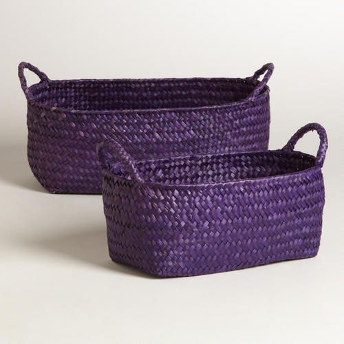 "One of my favorite discoveries at WorldMarket.com: Purple Oval Michelle Basket (Large: 12""W x 7""D x 4.5""H Medium: 10""W x 6""D x 4""H) $5.99-$7.99"