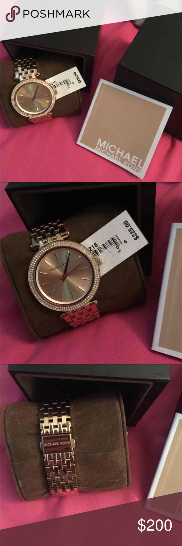 Michael Kors rose gold women's watch Brand new authentic rose gold women's watch . Comes with box, papers, tags and links are still on watch. Retails for 225 Michael Kors Accessories Watches