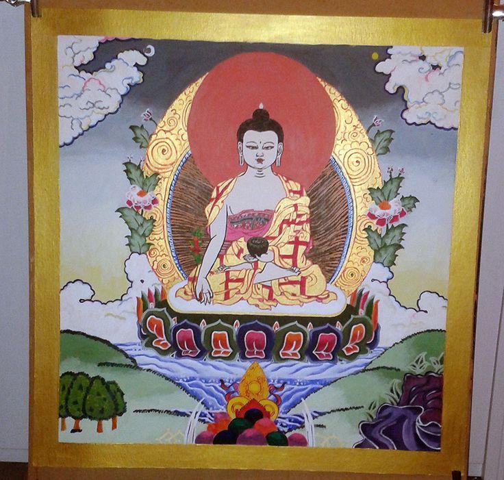 Medicine Buddha; 70x70 cm, acrylic