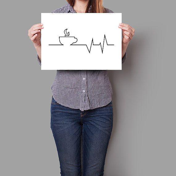 Aber erste Kaffee Herzschlag drucken. Kaffee-Print von PrintAndUse