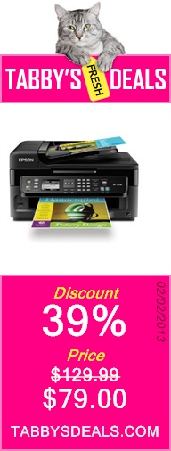 Epson WorkForce WF-2540 Wireless All-in-One Color Inkjet Printer, Copier, Scanner ADF, Fax. Prints from Tablet/Smartphone. AirPrint Compatible (C11CC36201) $79.00