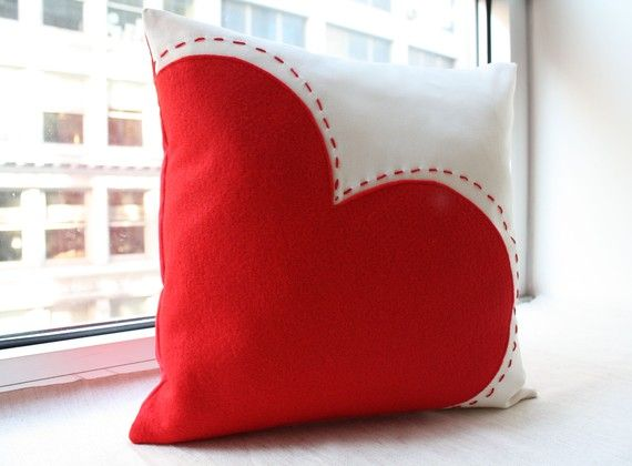 Big Red Heart Pillow by HoneyPieDesign