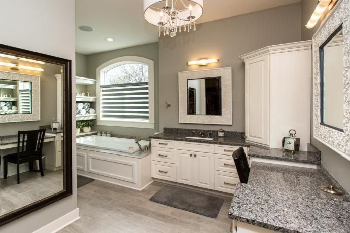 white cabinets gray walls drop in tub caledonia granite