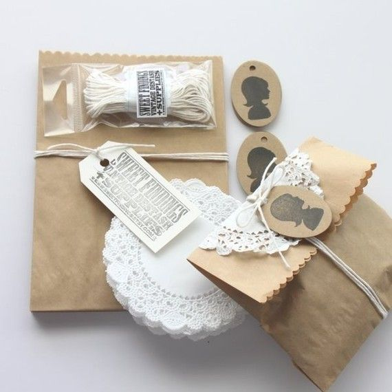 gift love the brown bags, the stamp look and the doilies
