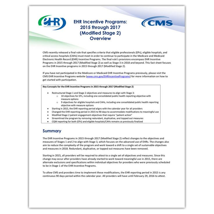 EHR Incentive Programs: 2015 through 2017 (Modified Stage 2) Overview