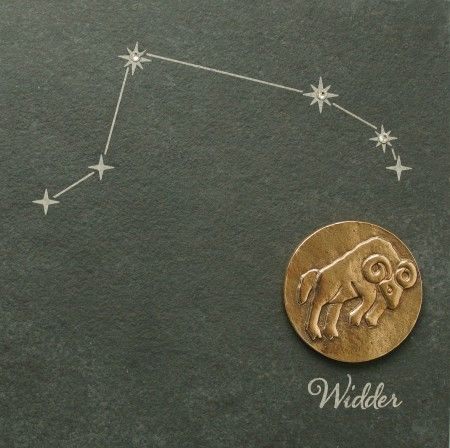 Wandrelief Sternzeichen Widder 14, 5cm Schiefer Swarovski
