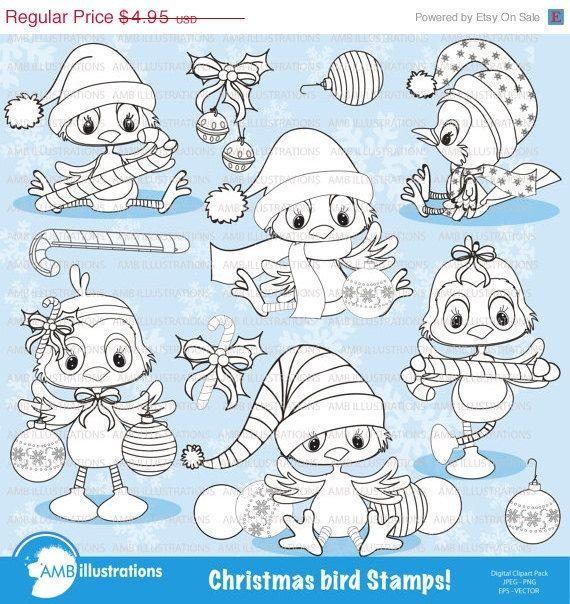 Christmas Bird digital stamps. #vectorgraphic #digitalscrapbooking