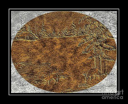 Barbara Griffin - Brass-type Etching - Oval - Deer Family at the Cabin
