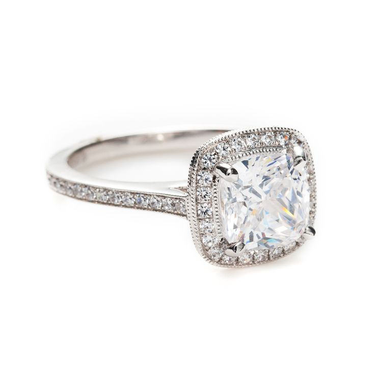 Antique Cushion Cut Engagement Rings Milgrain ... Just wish it had a tapered band and two small side stones :)