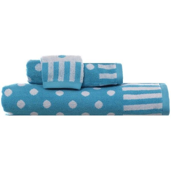 Teen Vogue On the Dot 3-pc. Bath Towel Set, Blue (Aqua) (105 ILS) ❤ liked on Polyvore featuring home, bed & bath, bath, bath towels, blue, striped towel set, polka dot hand towels, blue bath towels, blue hand towels and polka dot bath towels
