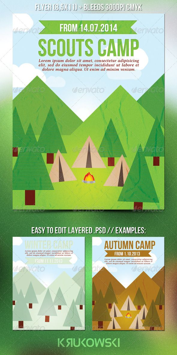 camp brochure template - scouts summer camp flyer abstract art follow me and
