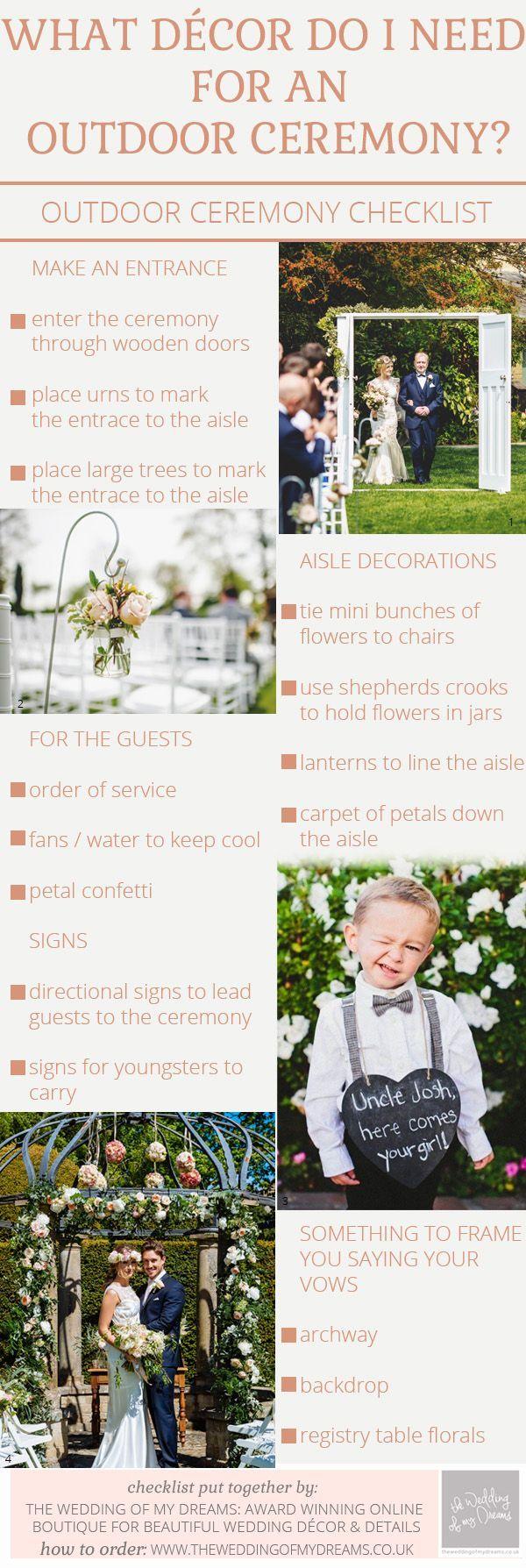 Outdoor Wedding Ceremony Decorations – Checklist / http://www.deerpearlflowers.com/rustic-beach-outdoor-wedding-checklist/