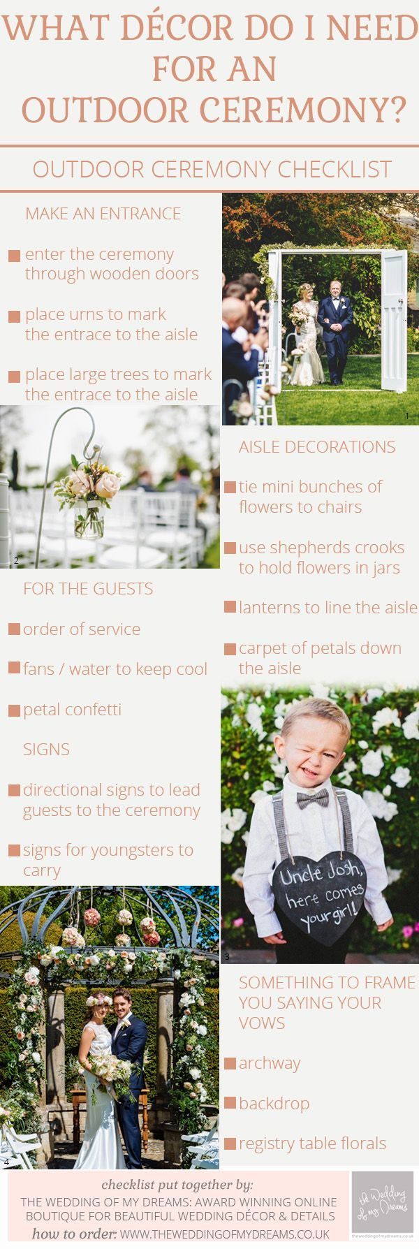 Outdoor Wedding Ceremony Decorations – Checklist / http://www.deerpearlflowers.com/rustic-beach-outdoor-wedding-checklist/