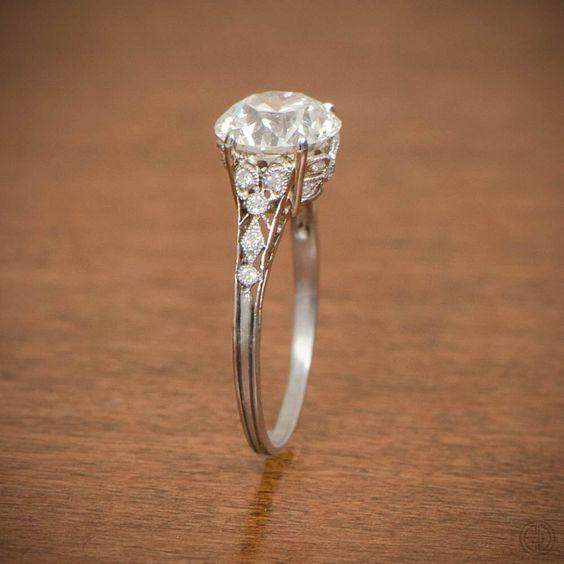 Cool Rare Edwardian Engagement Ring Antique Engagement Ring Circa by EstateDiamondJewelry on Etsy https