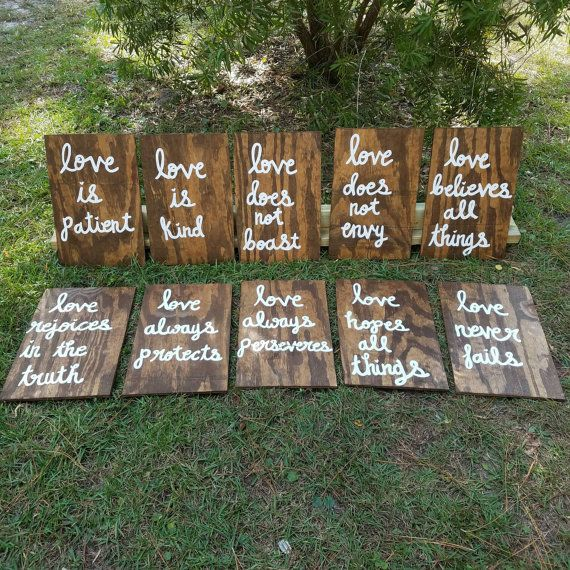 Wedding Altar Quotes: Wedding Aisle Signs, Set Of 10, Corinthians 13 Signs, Love