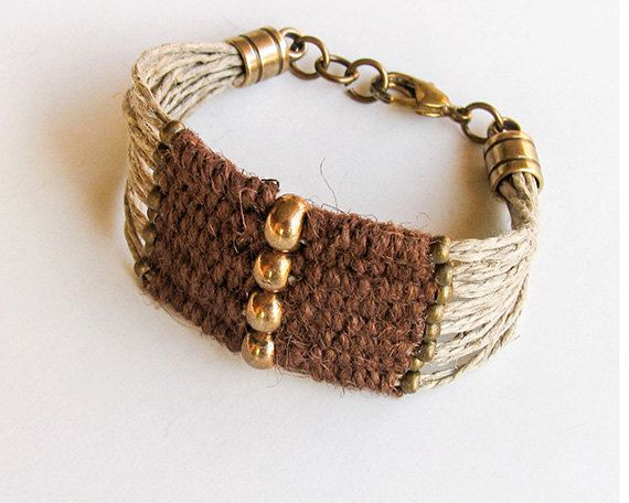 Brass Bead Bracelet, Woven  Boho Bracelet, Brown Wrap Cuff Bracelet, Woven Jute on Natural hemp cord, Eco-friendly, Gifts for her under 25