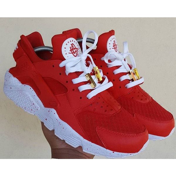 Red Nike Huarache Red Nike Huarache Customs Nike Huarache Unisex Red.  ($221) ❤ liked on Polyvore featuring shoes, athletic shoes, gre\u2026