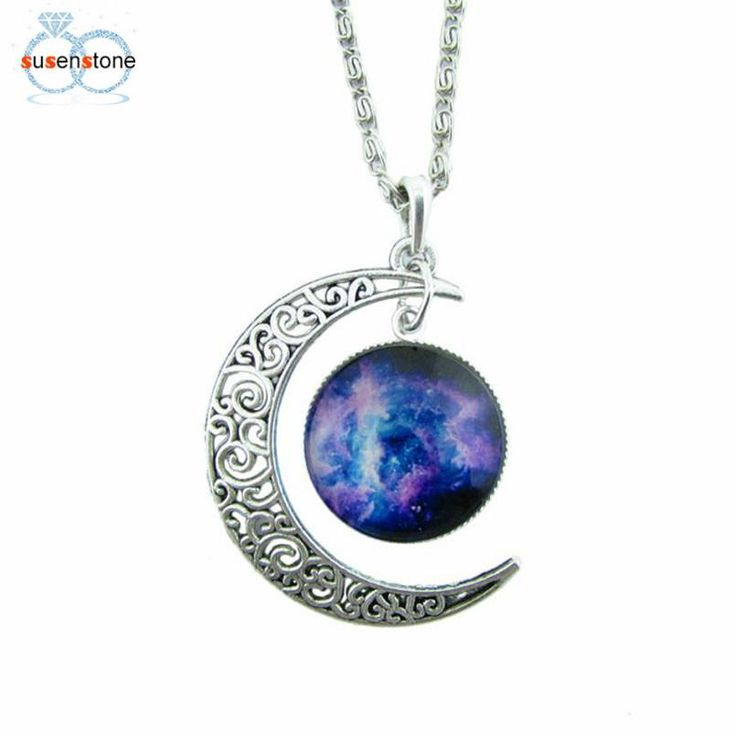 Antique Vintage Moon Lunar Necklace Sweater Chain Pendant Jewelry