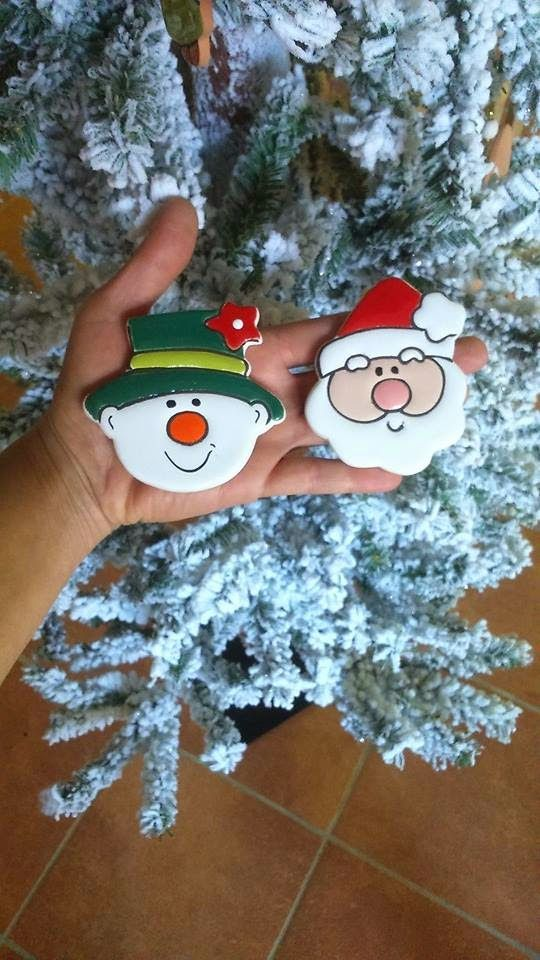 ceramica come mestiere: Babbo Natale, renna e pupazzo di neve. Simpatiche ...
