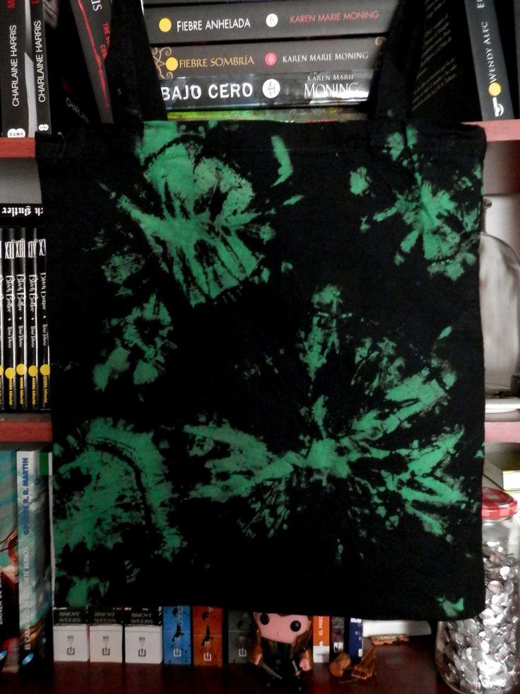 Bleach and painted tie dye tote bag