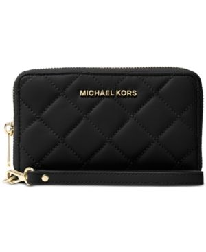 Michael Michael Kors Jet Set Travel Large Flat Multifunction Quilted Phone Case - Black