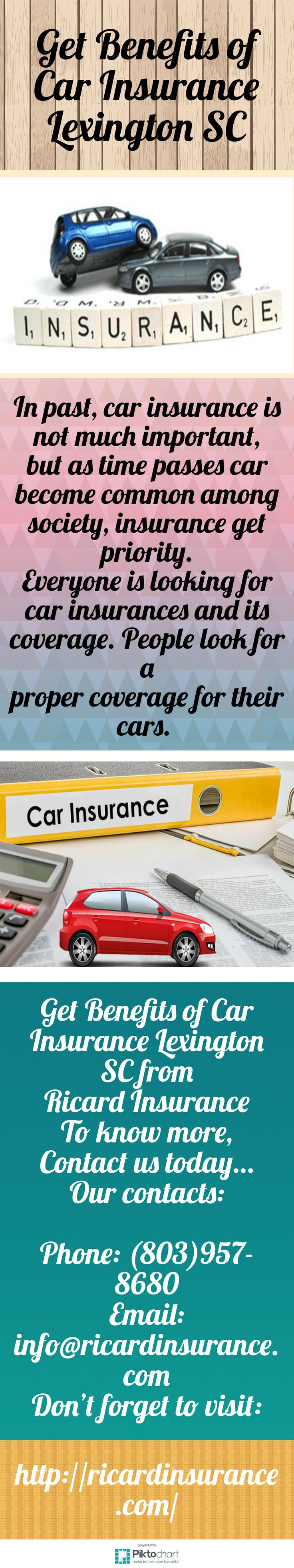 In past, car insurance is not much important, but as time passes car become common among society, insurance get priority. Everyone is looking for car insurances and its coverage. People look for a proper coverage for their cars. Get Benefits of Car Insurance Lexington SC from Ricard Insurance, visit our website:  http://ricardinsurance.com/
