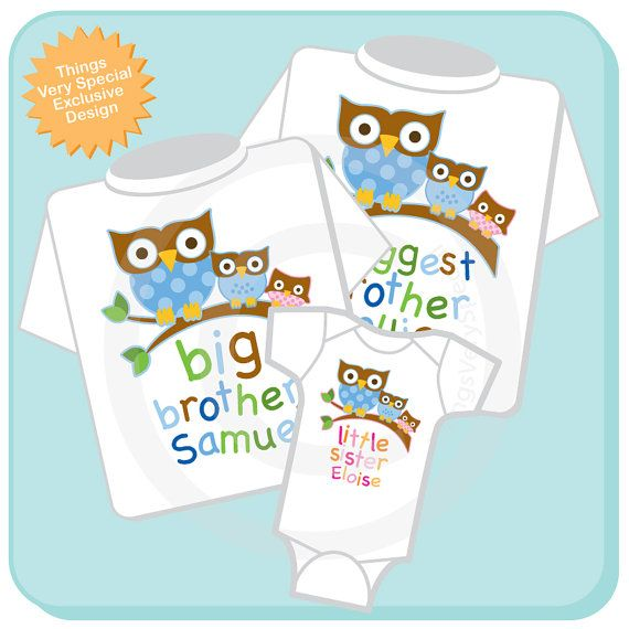 Set of Three Biggest Brother Owl Shirt, Big Brother Owl Shirt, and Little Sister Shirt Set Personalized Owl Tee Shirt or Onesie (12272013c) on Etsy, $44.97