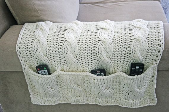 4 Pockets White Sofa Organizer+Remote Control Holder bag On TV, Hand Knit, Needles, Cordon, Cotton Rope on Etsy, $49.00