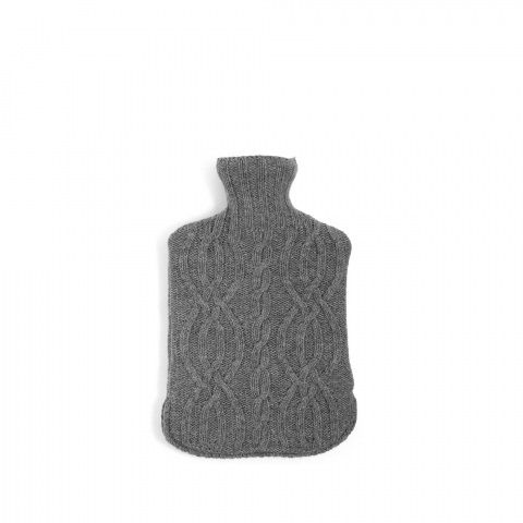 SHOP | Harrison Hot Water Bottle in Grey Marle. Chunky cable knit design. Includes 2 litre rubber hot water bottle. Concealed zip fastening at bottom of cover. Inspired by the knitted accessories used in the cabins at Soho Farmhouse | Bedroom