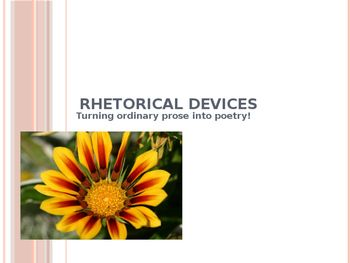 Miz Mac's Rhetorical Devices PowerPoint, Slide show where terms are defined and have examples; Tone, Mood, Imagery, Figurative Language, Literal Language, Allusion; Poetry Terms; Poetic Language