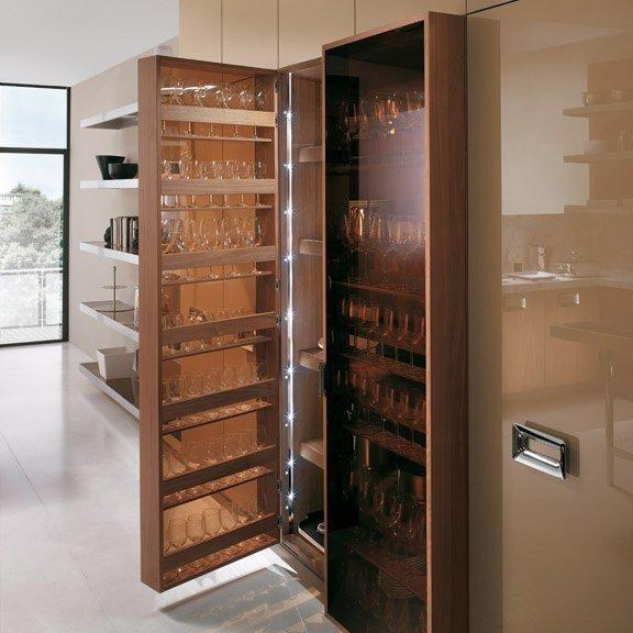 Kitchen furniture in walnut-open wardrobe