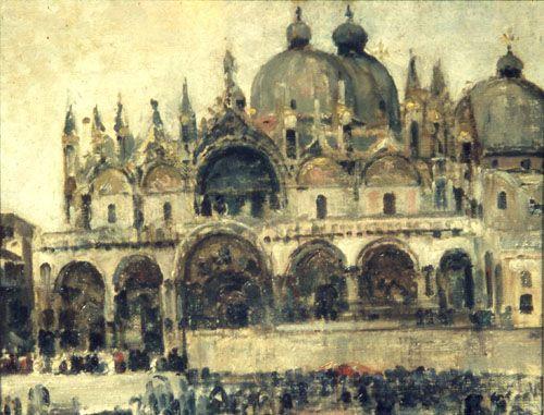 LA BASILICA DE SAN MARCOS, VENECIA,  Óleo sobre Tela 33 x 42 cm Museo Nacional de Bellas Artes
