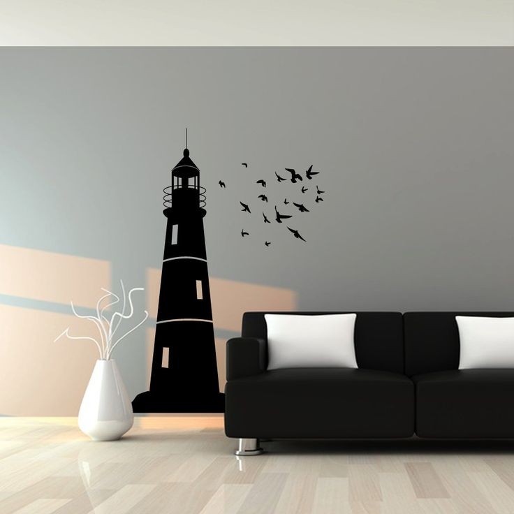 Nautical Wall Stickers Part - 48: Wall Decal : Lighthouse And Flock Of Birds Nautical Vinyl Wall Art Decal  Sticker. $58.00