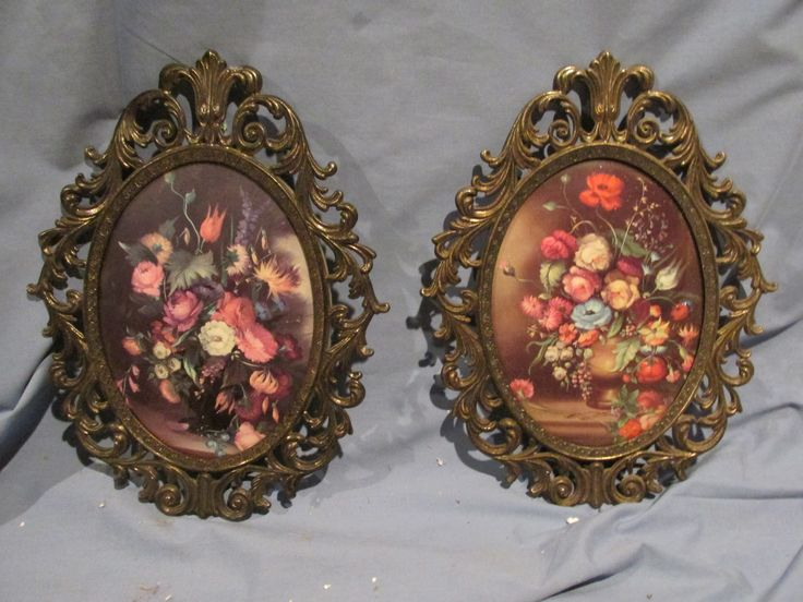Convex Glass Brass Framed Pictures Set of 2 Oval Floral by LuRuUniques on Etsy