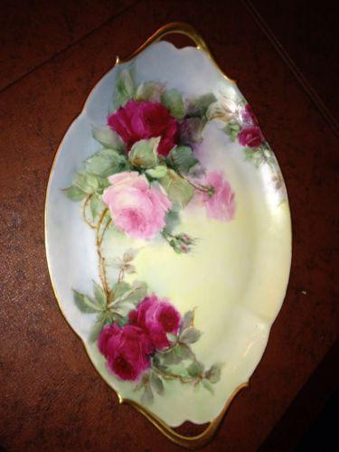 """T & V Limoges Large 13"""" Cranberry & Pink Rose Plate Platter Charger ~ Stunning!"""