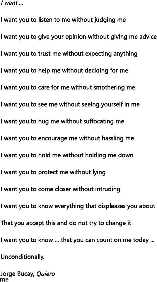 I want ... - Jorge Bucay