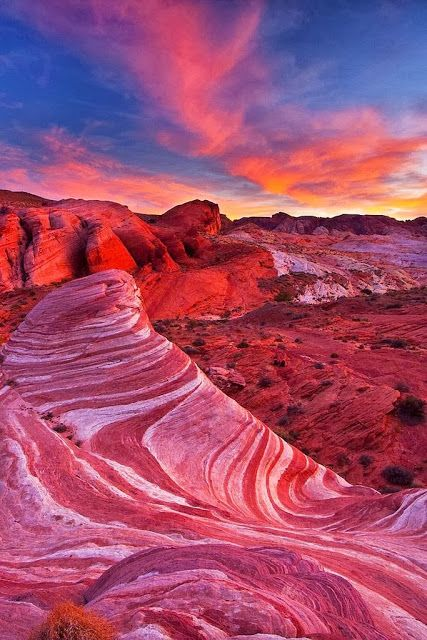 Valley of Fire Wave, Nevada. Omg. Its so red and beautiful!! The rocks are like a pink swirl peppermint. It is so beautiful. AND the sky with it too!! AHH! 