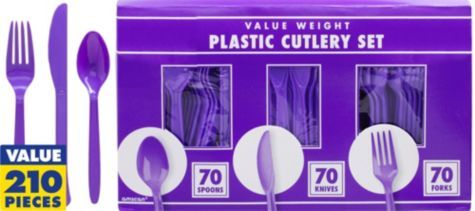 Purple Cutlery Set 210pc - Party City