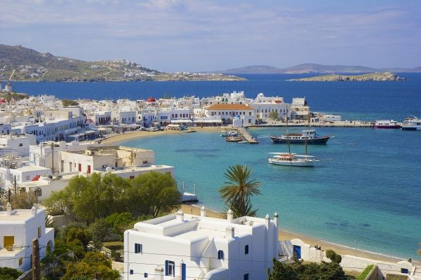 Panorama of Mykonos old port