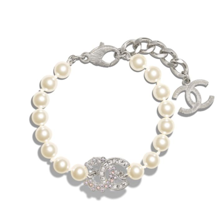 Chanel BRACELET METAL, GLASS PEARLS & STRASS SILVER, PEARLY WHITE, CRYSTAL & LILAC  A96979 Y47089 Z5677