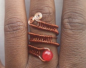 Adjustable Ruby Faceted Gemstone Ring. Non Tarnish Copper Wire Weave Wrap