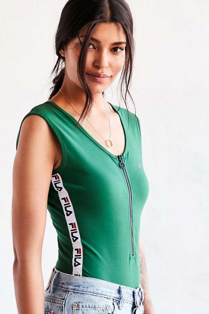 UO Exclusive Fila Green Zip Front Bodysuit