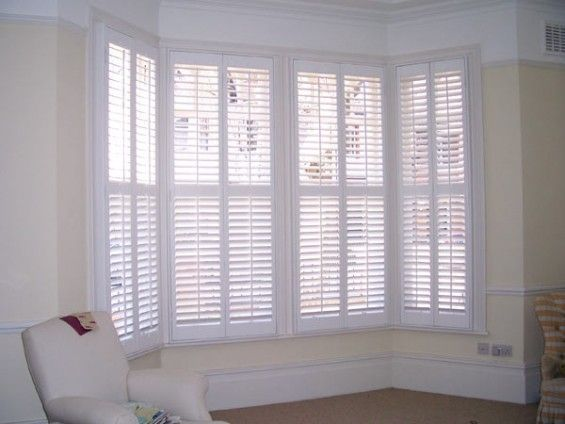 white wood blinds bay window | White Victorian Bay Window Shutters