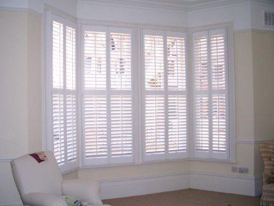 white wood blinds bay window | White Victorian Bay Window Shutters