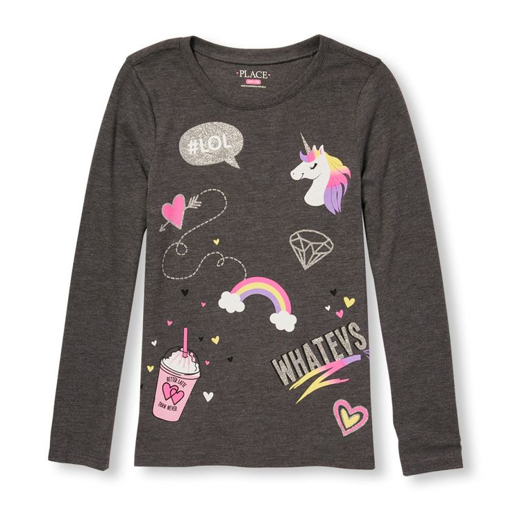 Girls Long Sleeve Glitter Icon Doodles Graphic Tee