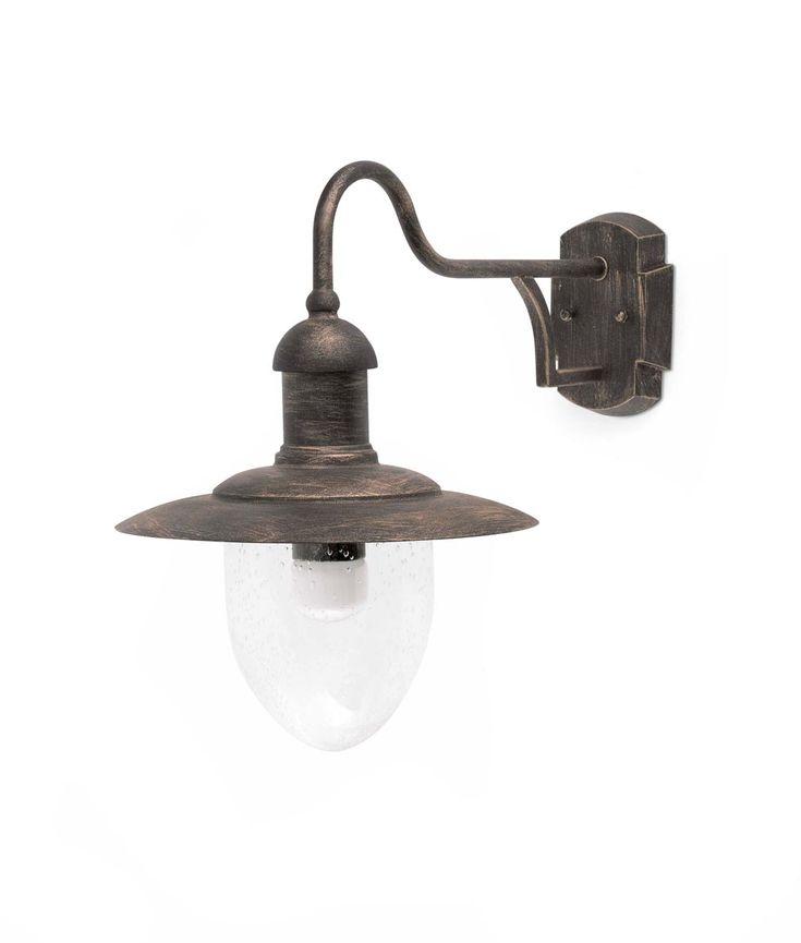 Aplique de exterior MITRA marrón, de aluminio, metal y difusor de cristal burbuja. Voltaje 100-240V con iluminación 1 x E27 60W (no incl.).